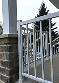 White aluminium railing and column