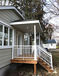 Entry - railing, columns and awning